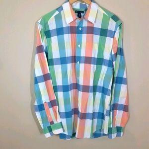 Gap | color block large plaid button up shirt